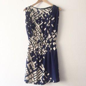 Akiko Pixel 100% Silk Dress Geometric Print Medium